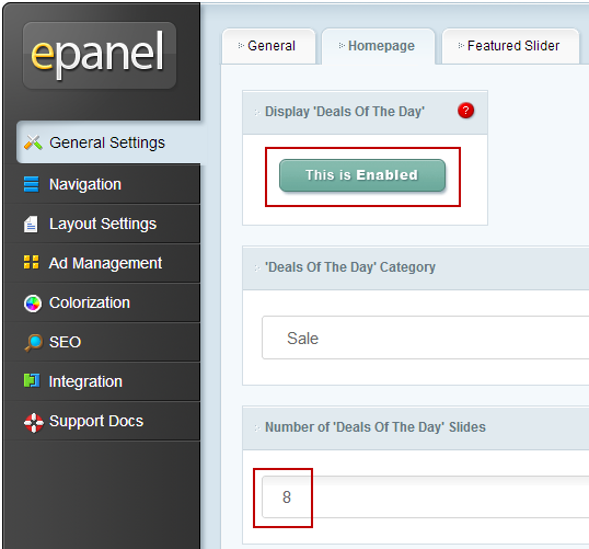epanel settings for estore