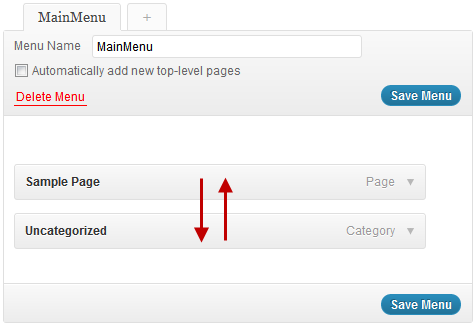 wordpress how to change menu order
